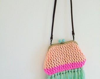 Clutch bag, crochet handbag. Boho bag, tassels