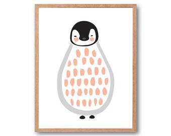 Baby Penguin Art Print, Penguin Art print, Animal Illustration, Baby Nursery Print, Baby Shower Gift, Baby Animal Print