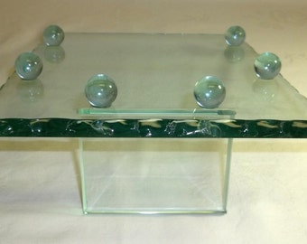 SALE Store glass Jewelry Display Tray ,Hat or Craft , Thick Green Glass  ,Footed with Scalloped Edges 1980s Vintage