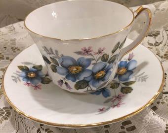 Royal Kendall Fine Bone China Teacup and Saucer - Light Blue Flowers