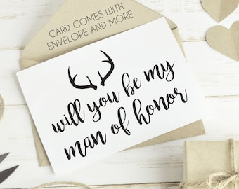 man of honor card, printable man of honor card, best friend bridal card, man of honor cards