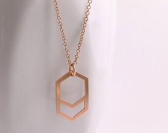 Geometric Hexagon Chevron Copper Pendant, Handmade Geometric Hexagon Necklace,Minimalist Necklace with Copper Chain,Modern Copper Pendant