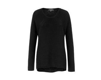Wool Sweater / Asymmetric Blouse / Oversized Cardigan / Black Jumper / High Low Sweater / Marcellamoda k - MB0735