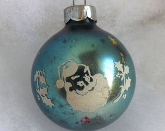 Vintage rare Santa Claus Christmas ornament, aqua blue glass ornament, Holiday Greetings, mercury glass ornament, stencil ornament, holly