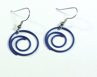 Blue Spiral Paper Clip Earrings, repurposed paper clip jewelry - clip on and 925 sterling silver available