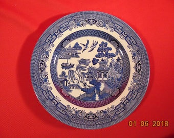 "One (1), 8 1/8"", Salad Plate, from Churchill, in the Willow Blue (Georgian Shape) Pattern."