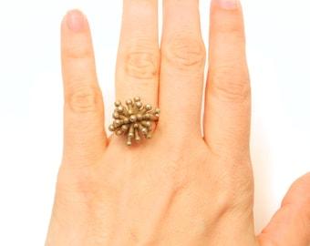 Seul anneau de Starburst (3D acier imprimée, or, Bronze)