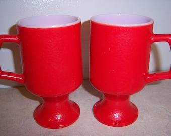 Vintage Red White Milk Glass Pedestal D Handle Mug Coffee Cup Set of 2