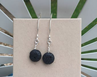 Lava Bead Wishbone Earrings, Sterling Silver Contemporary Earrings, Black Bead Earrings, Handmade Lava Earrings, Designer Earings, U K