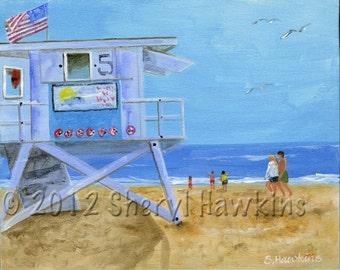 Lifeguard Tower 5 -Acrylic painting fine art print beach painting