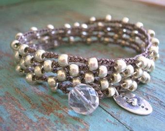 Silver crochet wrap bracelet -  Love Me Knot - silver heart charm bracelet Boho crochet jewelry, long necklace, bohemian beaded bracelet