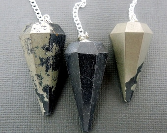 Pyrite Point Pendant-- Pyrite Point Pendulum Pendant with Silver Plated Bail and Chain (S27B12-02)