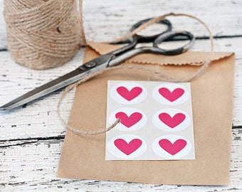 Heart stickers, heart seals - Set of 24, envelope seals, hearts, round sticker, heart stickers, paper goods, valentines