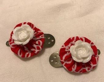 Fabric Fold Barrette Red & White