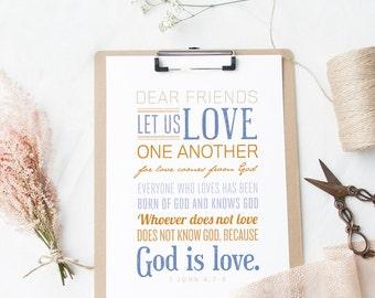 INSTANT DOWNLOAD - 1 John 4:7-8 - Scripture Print Digital File - Bible Verse Art - Christian Typography