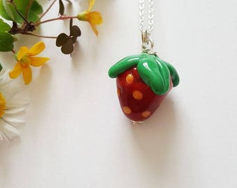 Strawberry Necklace - Sterling Silver Necklace - Strawberry - Gifts for Her - Lampwork Glass - Berry Bead - Necklace - UK Made - Jewelry