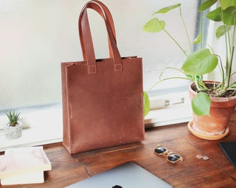 Leather Tote - Leather Bag - Leather Tote Bag - Shoulder Bag - Market Bag - Everyday Tote - Tote bag - Brown Leather Tote Bag - Square Tote