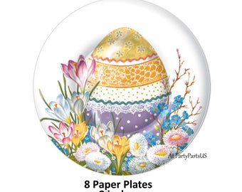 Easter egg plates, spring decorations, easter party decor, tulips, floral paper tableware, disposable, painted eggs, holidays