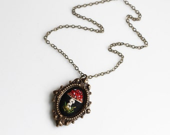 Little Toadstool- hand embroidered necklace, mushroom, red, white, spotted, fern