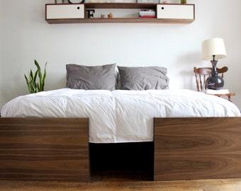 Modern Walnut Bed, Queen