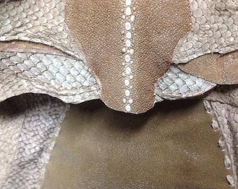 BROWN STINGRAY BAG - present for her - stingray bag - unique bag - present - original bag - luxury bag - bamboo handle bag