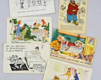 Vintage Funny Postcards, Funny And Risque Mid Century Postcard