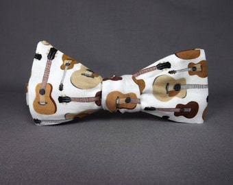 Guitar bowtie, Music bowtie, musician bowtie, country western, blues music bowtie, acoustic bowtie, guitar gift, guitar player