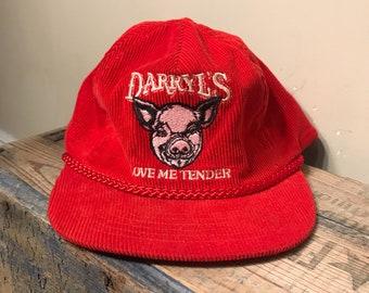 Vintage red corduroy hat // love me tender pig hat // Darryl's vintage hat // funny retro rope cap // farm farmer hat // adult size
