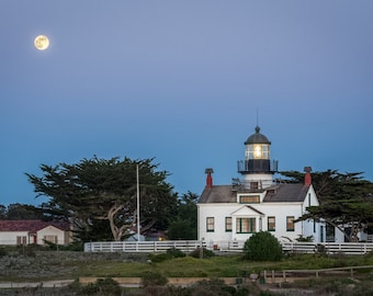 Moon Rise - lighthouse,pacific grove,moon rise,blue hour,home decor,office decor,earth tones,point pinos,evening,trees,california,sandy