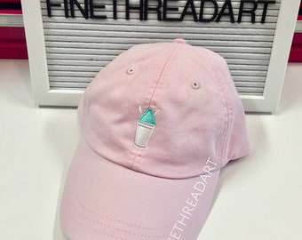 LADIES Snow Cone Baseball Cap Hat LEATHER strap Monogram Preppy Snowball Snow Cone Snocone Shaved Ice SummerBachelorette Snow Ball