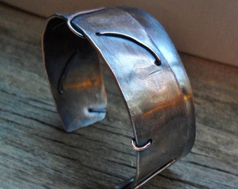 Stitched, Copper Folded Cuff Bracelet with Thin Copper Wire Mens or Womens
