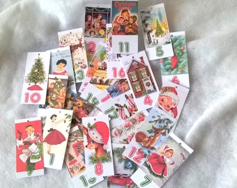 24 labels for advent, 24 images different + 2.50 m vintage calendar vintage string attached