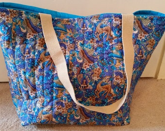 Bright Blue patterned Quilted Hold All Tote bag