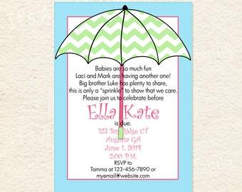 Chevron Umbrella Sprinkle Baby Shower Printable Invitations