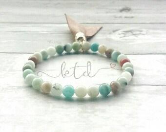 Amazonite bracelet- tassel bracelet- gemstone bracelet- healing crystals- gift for her- boho style bracelet- everyday bracelet- green stone