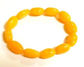 "Baltic Amber Antique Butterscotch Bracelet Olive Beads Natural 8"" 10 gram"