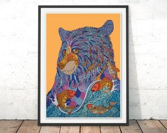 Bear Illustration Wall Art Bear Catching Fish Home Decor Bear Art Print Grizzly Bear Gift for Nursery Room Wall Decor Bear Print by Paul