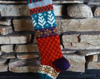 Personalized Christmas Stocking, Custom Knit Christmas Stocking, Knitted Christmas Stocking, Knit Christmas Stockings, Large Teal Trees