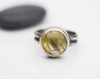 Rutilated Quartz Golden Rutile Quartz Ring Sterling Silver Ring Boho Jewelry Le Chien Noir Gift for Her Size 6.5