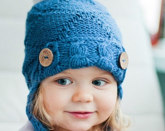 Kid's Knit Hat / Toddler Winter Pom Hat / Girls Knit Beanie / Boys Knit Cap / Children's Hat / Wool Merino Hat / Pom pom Blue Hat