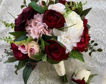 Wedding bouquet,Burgundy Blush Bridal bouquet,Silk Wedding flowers,burgundy bouquet,Wedding accessory,Blush wedding flowers,Burgundy bouquet