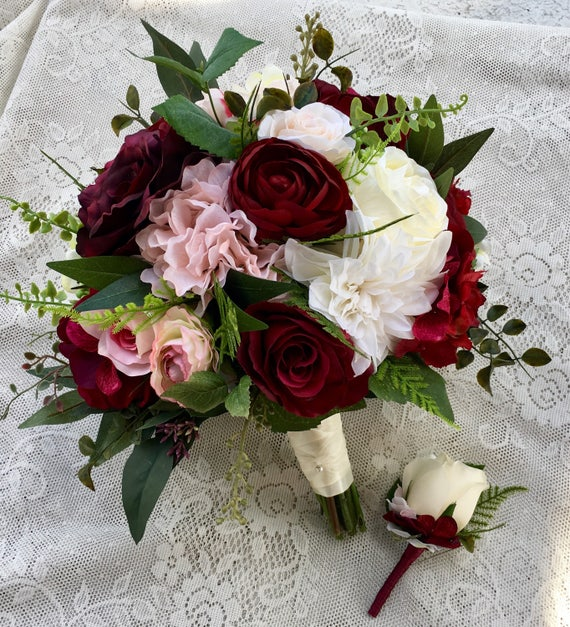 wedding bridesmaid bouquets wedding bouquetburgundy blush bridal bouquetsilk wedding 8551