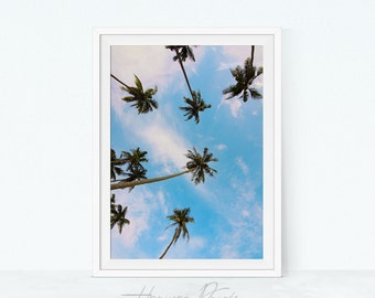 Tropical Home Decor, Palm Tree Printable, Photography Wall Art, Palm Decor, Digital Download, Blue Sky Print, Clear Sky
