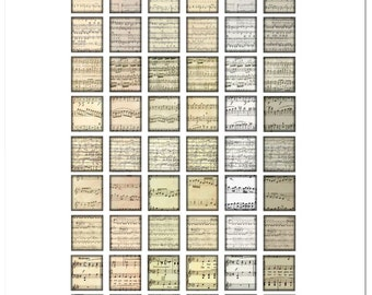 Printable Classical Sheet Music Notes / 54 Scrabble Tile Images (on one sheet) / Digital Collage / .75x.83 sized tiles / Sepia Sheet Music