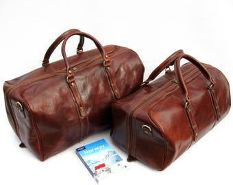 """Leather Travel Bag Weekender Set Made In Italy """"Enzo Olletti"""""""