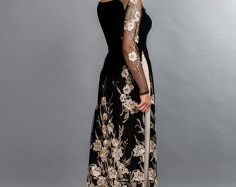 Black, lace and chiffon ao dai