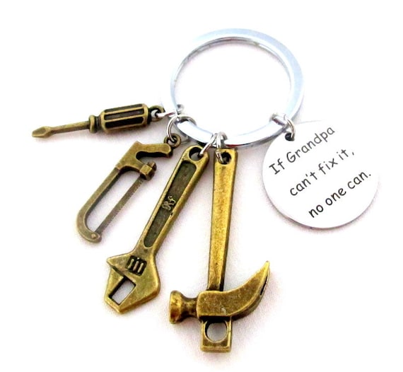 Gift for Grandpa,Father's Day gift,Gift for daddy,Grandpa tools keychain,Gift for Papa,If Grandpa Can't fix it no one can, Free Shipping USA