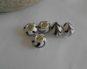 White brun14x10mm glass lampwork bead