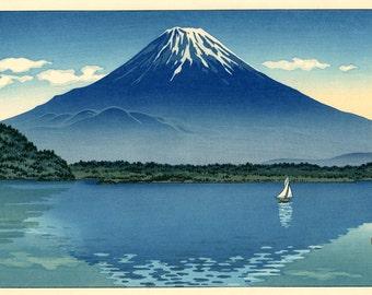 Japanese Mountain Fuji Sailboat painting, Lake Shoji Koitsu FINE ART PRINT, Japanese landscapes art prints, wall posters, woodblock prints