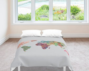 World Map Bedding, World Map Decor, World Map Bedroom Decor, World Map Duvet Cover, Bedroom Decor